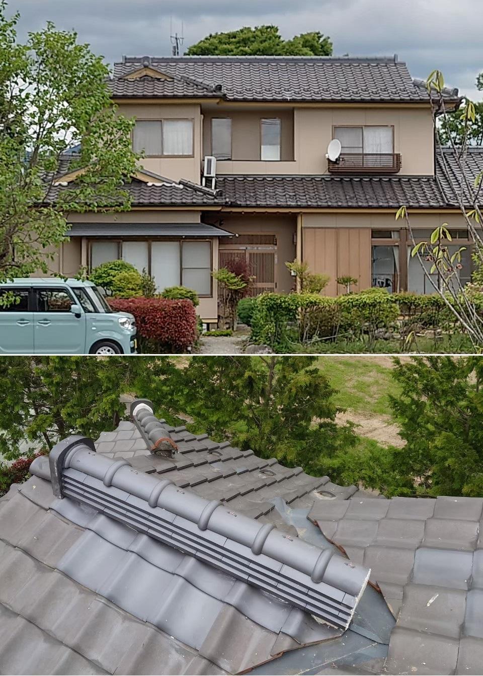 宮城県の地震で崩れた棟部、隅部を修理しました