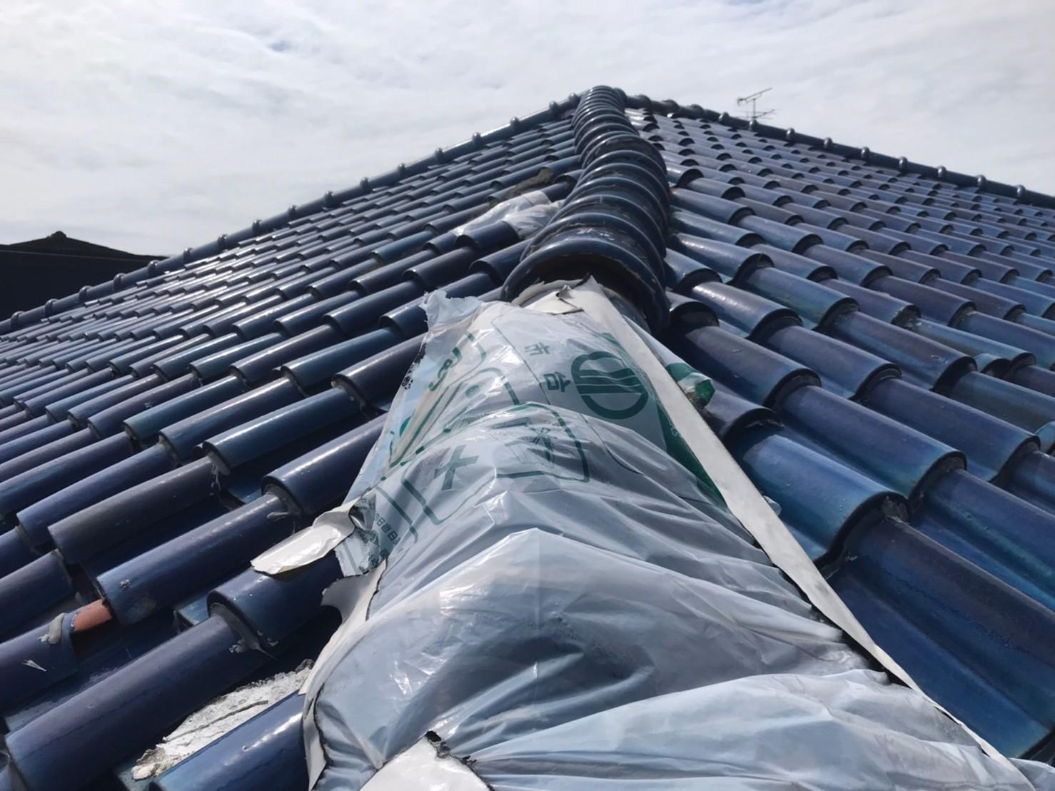宮城県の地震で崩れた棟を七寸丸瓦で修理しました