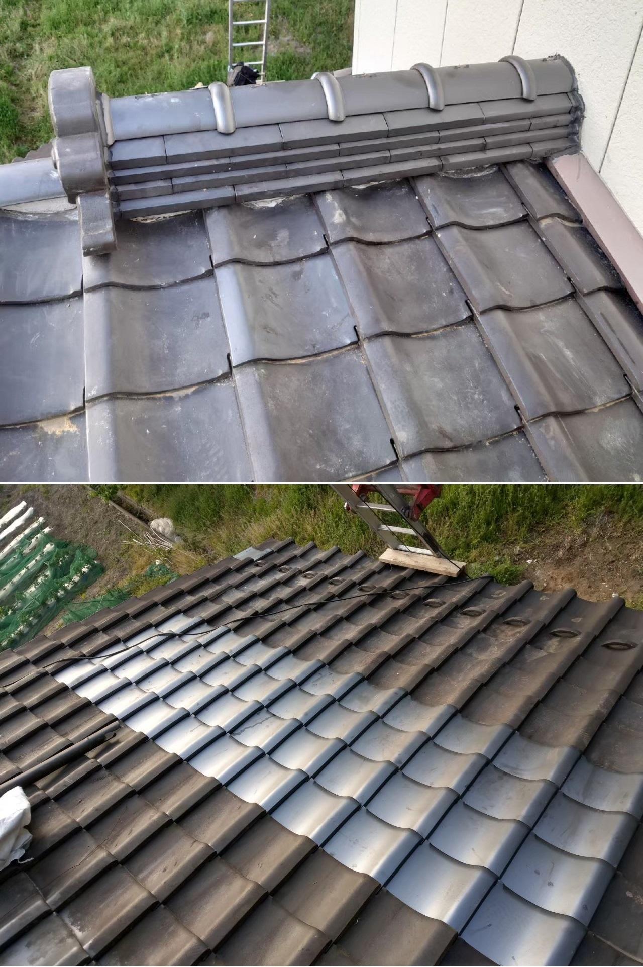 宮城県の地震で崩れた棟部、平部、袖部を修理しました