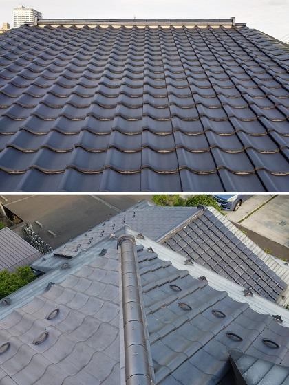 宮城県の地震で崩れた大棟部と一階の棟部、隅部を修理しました