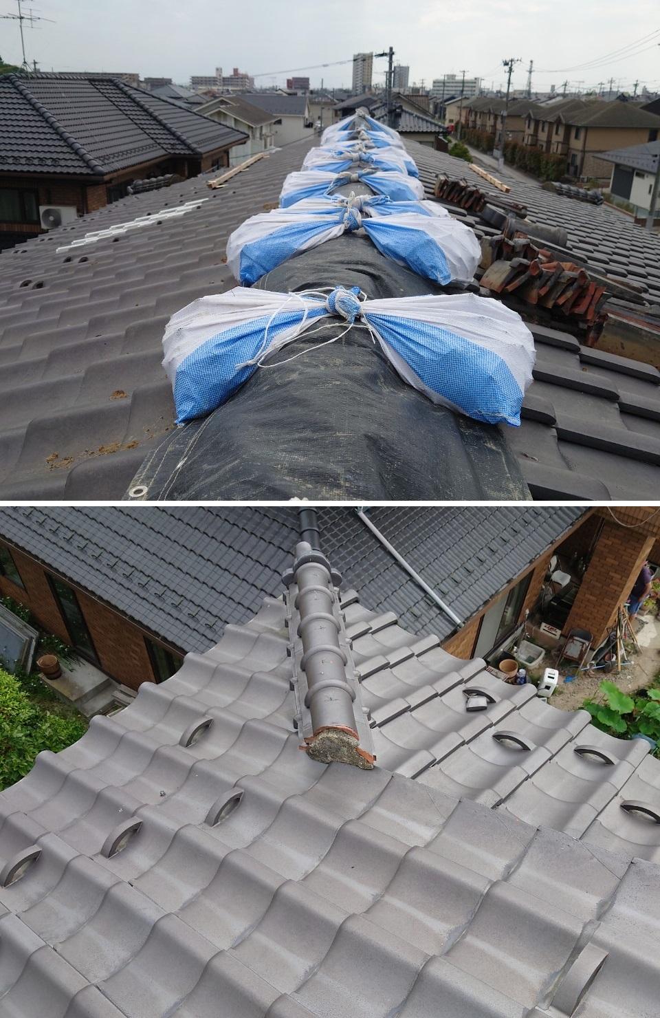 宮城県の地震で崩れた棟部を修理しました